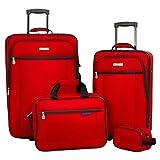 American Explorer Brand Men's Hudson 4 Piece Luggage Set, True Red