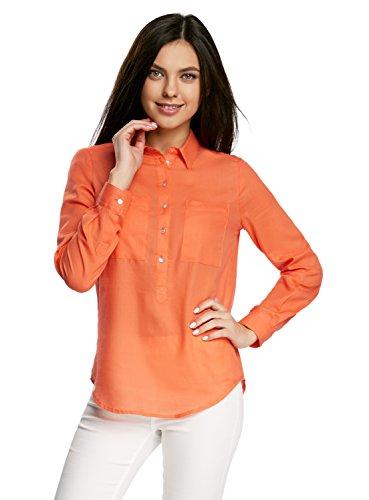 5500n Arancione Ultra Camicia Cotone Larga in oodji Donna Zzwqz0