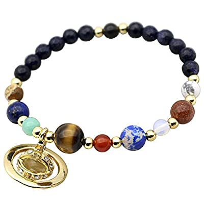 Cheap Gold Color Saturn Stones Beaded 9 Planets Solar System Universe Star Stretch Bracelets