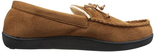 ISOTONER Men's Microsuede Moccasin Slipper with Cooling Memory Foam for Indoor/Outdoor Comfort (L, Cognac)