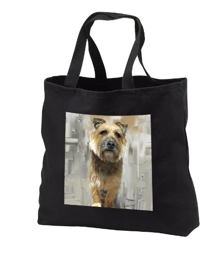 (Dogs Border Terrier - Border Terrier - Tote Bags - Black Tote Bag 14w x 14h x 3d (tb_4427_1))