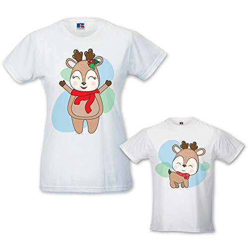 Coppia di T-shirt Donna Bambino Idea Regalo di Natale Renne Bianche Donna XS - Bimbo 7-8 Anni