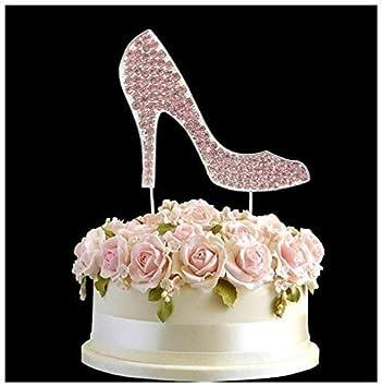 Rhinestone Crystal High Heel Shoe Pink Wedding Cake Topper Number ...