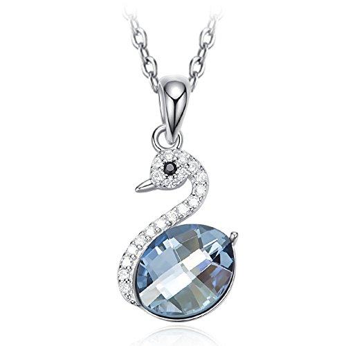 MENUDOWN Collier Swarovski Crystal S925 Argent Swan Clavicule Collier Femmes Accessoires,925Silver