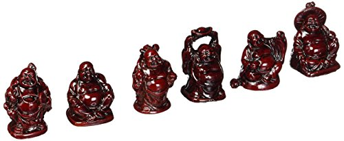 Laughing Buddha Statues, 6 Figurines Set