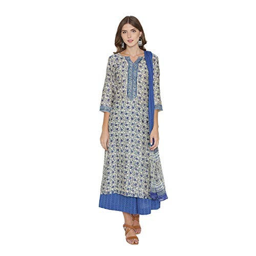 (PinkShink Blue Pure Chanderi Silk Kurta Palazzo Dupatta Set (XL) d294xl)