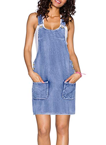 Sidefeel Women Wash Jeans Straps Buttons Side Jumper Denim Overall Dress Small Light ()
