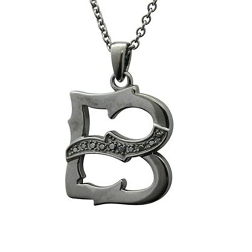 Men's Sterling Silver Alphabet Initial Letter B Black Diamond Pendant Necklace (0.06 Carat) (Ct Pendant Initial 0.06)