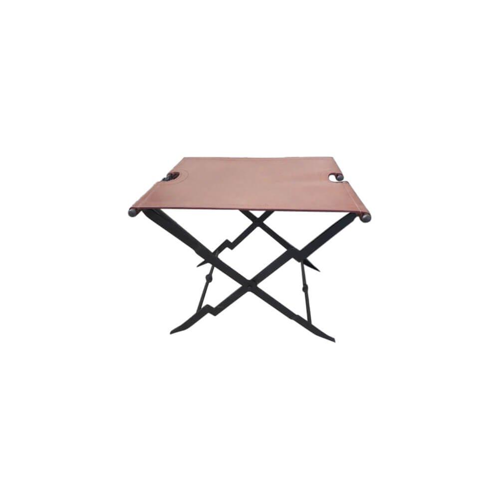 Armorvenue: Folding Iron Stool with Leather Seat