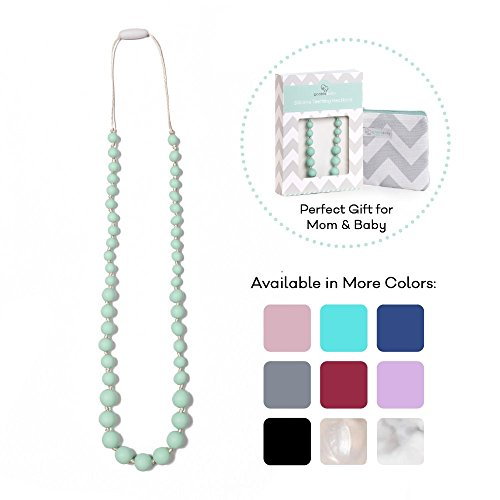 Goobie Baby Audrey Silicone Teething Necklace for Mom to Wear, Safe BPA Free Beads to Chew - Mint
