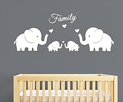 MAFENT 4 Cute Elephants Family Wall Decals Parents and Twins Elephant Wall Decal for Baby Nursery  sc 1 st  Amazon.com : family wall decal - www.pureclipart.com