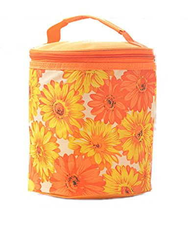 Price comparison product image OZZOY Multifunctional Canvas Round Bucket Ice Package Reusable Picnic Lunch Bag Flower Shape Zipper Outdoor Summer Camping Cold Bags Storage Bags Ice Package (Orange)
