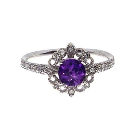 1.00 Carat (ctw) 14k White Gold Round Purple Amethyst and Diamond Antique Halo Fashion Ring ( MM) - Size - Semi Antique Round Mount Diamond