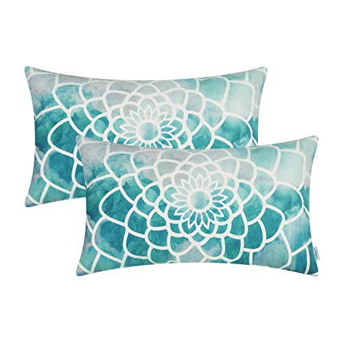 CaliTime Pack of 2 Cozy Fleece Bolster Pillow Cases Covers for Couch Bed Sofa Manual Hand Painted Print Colorful Dahlia Compass 12 X 20 Inches Teal