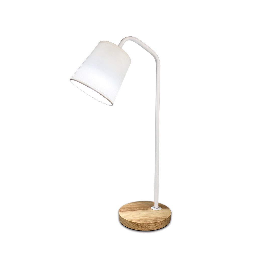 L-San Nachttischlampe, Schalter Schalter Warme LED-Schreibtischlampe Modernes Minimalismus-Buch Beleuchtet Metall Holzsockel Stoff Lampenschirm Einfache Nachtlampe Schlafzimmer Wohnzimmer Büro