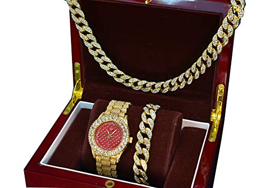 Full Iced Out 14k Gold Plated Iced Out Mens New Trendy Red Face Bling Watch, Cuban Necklace & Bracelet Set (Watch Only)