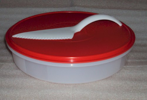 New Tupperware Pie or Cupcake Keeper, Sheer with Red Seal 12 in Round Container with Cut N Serve Pastry  inchKnife inch Server.