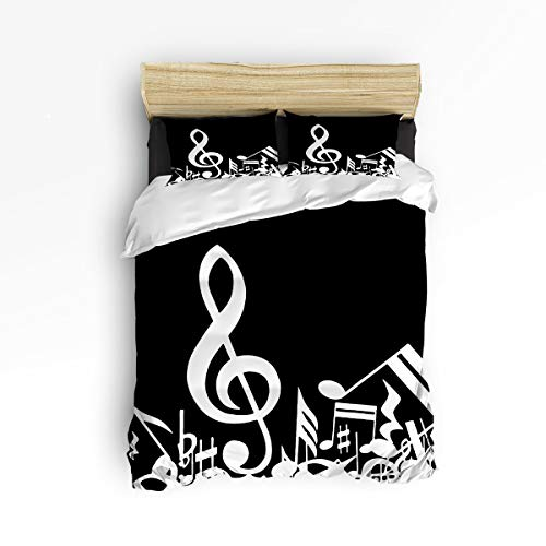 Cloud Dream Home 4 Piece Bedding Set, Musical Notes Music Decor Duvet Cover Set Quilt Bedspread for Childrens/Kids/Teens/Adults White Black Queen Size(Large)