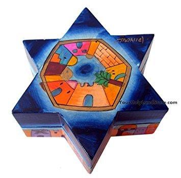 Hand Painted Star of David Candlesticks - Jewish Gift - Shabbat