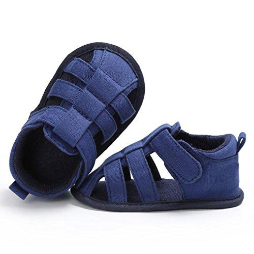 Baby Sandalen, Jungen Mädchen Mode Weiche Leinwand Kleinkinder Kinder Flip-Flops Blau