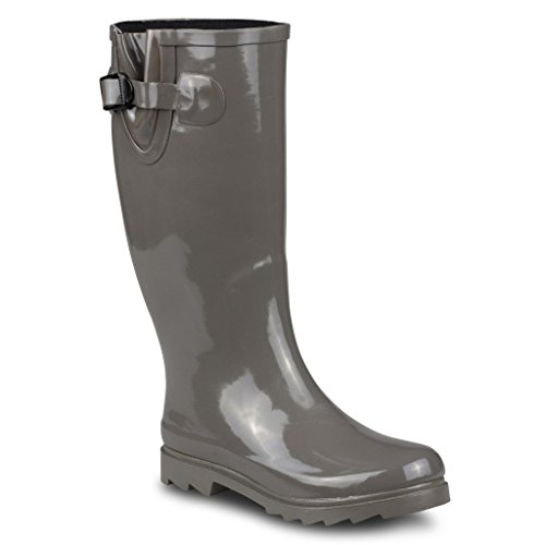 Twisted Women's DRIZZY Tall Cute Rubber Rain Boots- DRIZZY01 GREY, Size (Shaft Rain Boot)