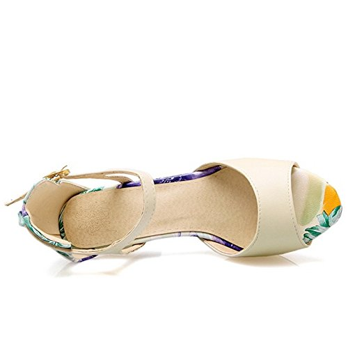 TAOFFEN Women Classical Block High Heel Peep Toe Buckle Strap Multicolor Sandals Beige fWRoUlhs