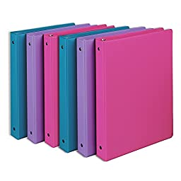 Samsill Fashion Color 3 Ring Binder, 1 Inch Round Rings, Storage Binder, 6 Pack Assorted - Bubblegum Pink, Sky Blue, Wisteria Purple