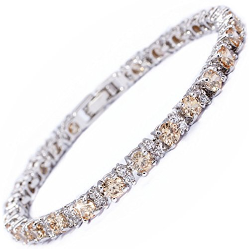 RIZILIA Round Champagne Color Gems and White Cubic Zirconia 18K White Gold Plated Tennis Bracelet, 7