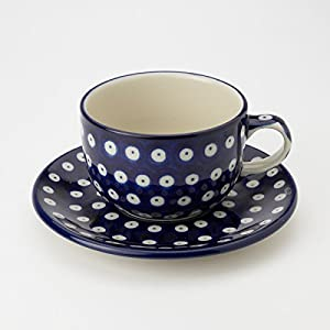 Polish Pottery Teacup and Saucer – Blue Eyes – 200ml