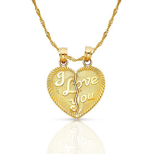 Ioka Jewelry - 14K Yellow Gold ''I Love You'' Couple Broken Heart Charm Pendant with 1.2mm Singapore Chain - 16'' by Ioka Jewelry
