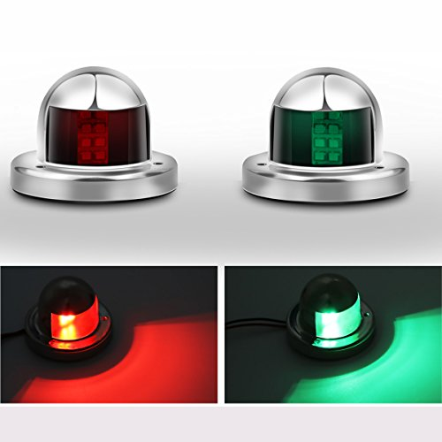 ALLOMN Boat Marine LED Navigation Lights for Pontoon,Yacht,Skeeter,Touring Car,etc as Boat Replacement Part (Silver Stainless Steel)