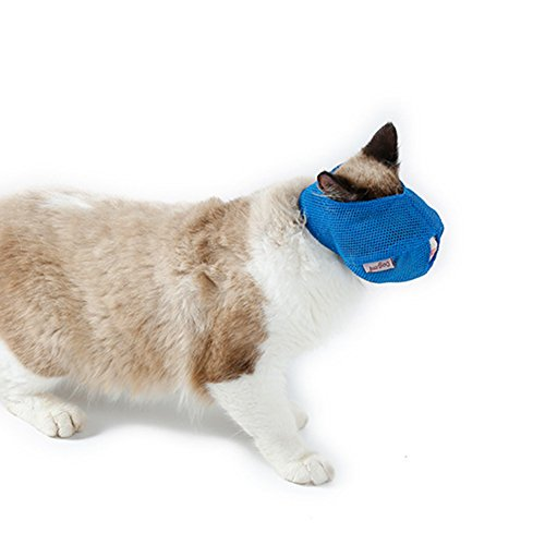 Amazon.com: Aland-Breathable Mesh Lovely Cat Anti Bite Muzzle Travel Tool Bathing Bag Pet Supplies - Blue S: Beauty