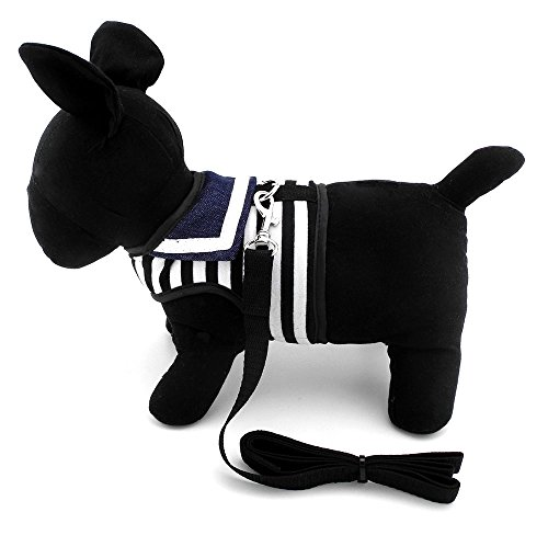 SMALLLEE_LUCKY_STORE Pet Clothes for pets Striped Sailor Vest Harness Leash Set Mesh Padded Lead Black S
