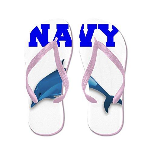 Cafepress Navy - Flip Flops, Roliga Rem Sandaler, Strand Sandaler Rosa