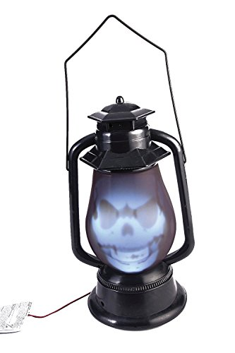 Liberty Imports Halloween Party Light Up Sound Activated Skull Prop Indoor Outdoor Decoration (Lantern) ()