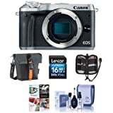 Canon EOS M6 24MP Mirrorless Digital Camera (Body Only) Silver - Bundle Holster Case, 16GB SDHC Card, Memory Wallet, Cleaning Kit, Pc Software Package