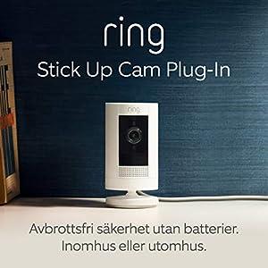 Ring Stick Up Cam Plug-In | HD-säkerhetskamera med tvåvägskommunikation | 30 dagars kostnadsfri provperiod på Ring Protect Plan ingår | Vit