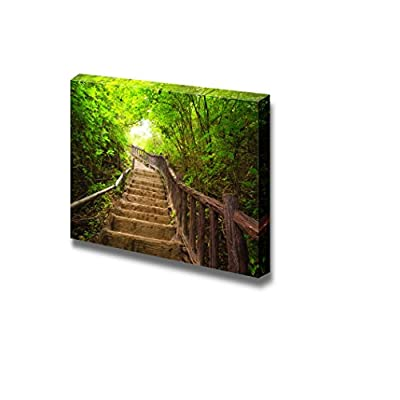Canvas Prints Wall Art - Stairway to Forest, Erawan National Park,Kanchanburi,Thailand| Modern Home Deoration/Wall Art Giclee Printing Wrapped Canvas Art Ready to Hang - 32