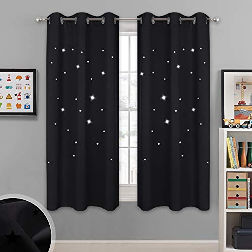 NICETOWN Magic Starry Window Drapes - Laser Cutting Stars Nap Time Blackout Window Curtains for Children's Room, Nursery, Themed Home, Space-Lovers Decor (W42 x L63 Inches, 2 Pack, Black)]()