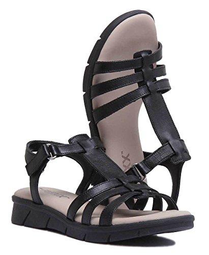 Piel The de Sandalias para Mujer Vestir de Flexx Negro ZXfqnzCvX