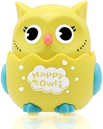 TMORU Owl Toys Kids Owl Pull Back Toys Creative Gift for Children Over 3 Years Old Push to Glide 360° Rotation Yellow