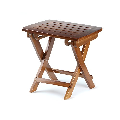 ETECHMART Eco-friendly Bamboo Folding Stool for Shaving Shower Foot Rest 14 Inches Tan (Wooden Rest Foot)
