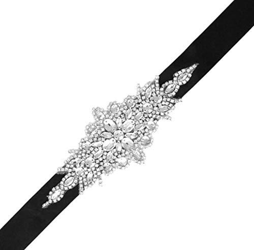 (Mandala Crafts Bridal Sash Belt with Crystal Rhinestone Satin Ribbon for Wedding Gowns, Prom, Formal Dresses for Women (Plain Rhinestone, Black) )