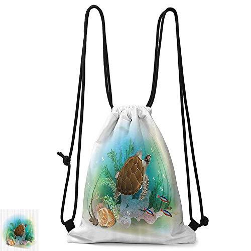 (Portable backpack Ocean Decor Sea Turtle Swims in The Ocean Tropical Underwater World Aquarium Illustration Print W14