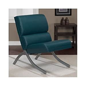 This teal leather chair with open sides is for B q living room furniture