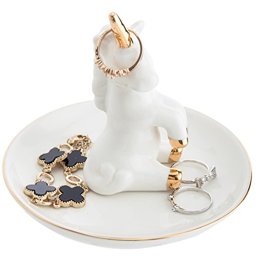 MyGift 5-Inch Ceramic Unicorn Ring Dish & Trinket Tray