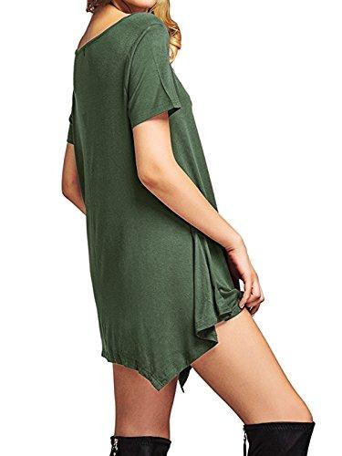 Tendances Américaines Hauts Femmes Ourlet Irréguliers Robes De Réservoir Été Robe T-shirt Swing Lâche Tuniques À Manches Courtes Pour Les Femmes De L'armée Verte