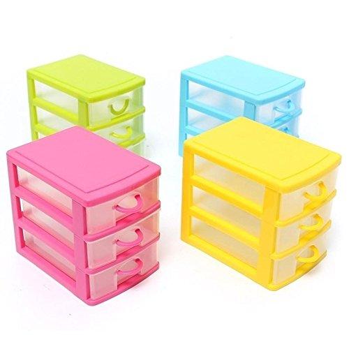 13X9X11.5CM Minisu design moderno desktop contenitore di plastica con tre cassetti Jewelry organizer rosa