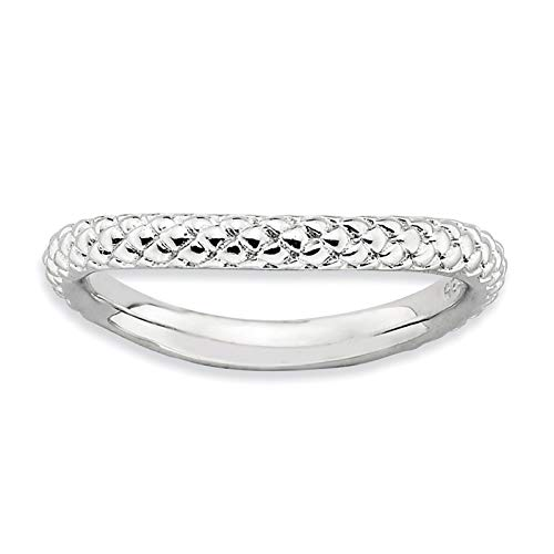 - 925 Sterling Silver Rhodium-plated Textured Wave Ring Band Size 9 by Stackable Expressions