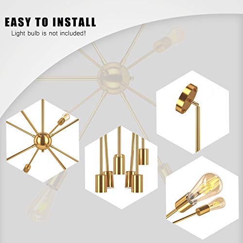 Oak Leaf Modern 8-Light Sputnik Chandelier, Mid Century Semi Flush Mount Ceiling Light for Bedroom Living Room and Dining Room